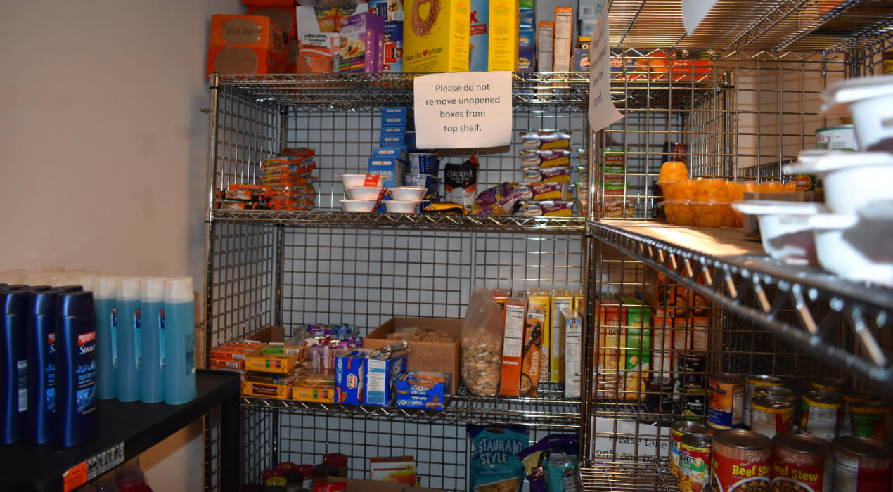 A food pantry filled with food