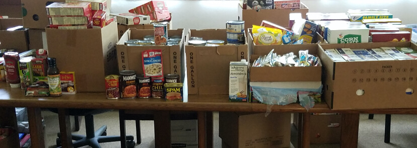 Boxes of food for the Emergency Relief Fund