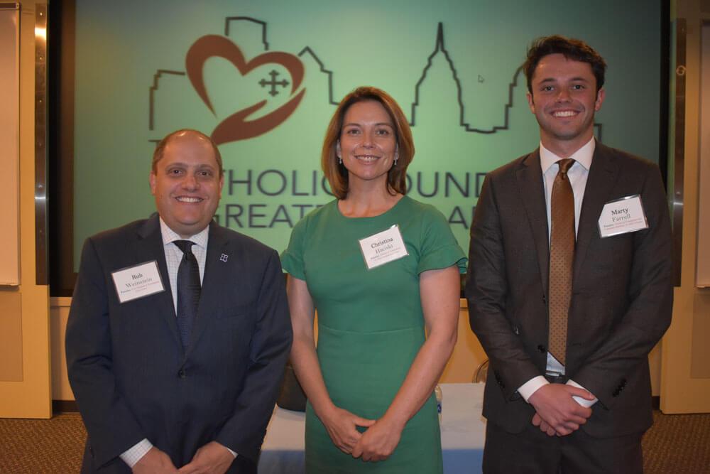 The three panelists, Rob Weinstein, Marty Farrell, and Christina Haciski